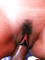 Hairy Pussy Covered In Cum From An Interracial Creampie