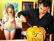 Amazing big huge titty cassandra goes pumpkin shopping for holloween then gets her patch rammed hard in these hor big titty cumfaced 4 vids