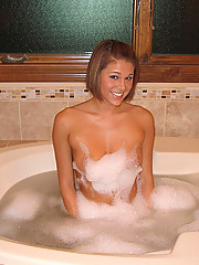 Melissa taking a hot tub