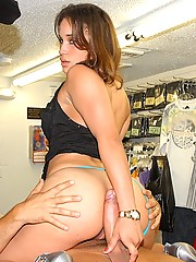 2 hot ass booty short latinas get their mouth and pussy fucked hard in the back of a clothing store in these hot amazing pics