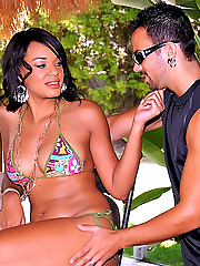 Super hot ass fucking black babe gets her smooth ass and plump tits fucked hard at these poolside pics