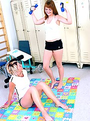 Lesbians having fun with their horny sporting