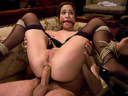 Slave wife entertains her husband and his sexy guest.