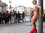Hot European blond fucked and humiliated, big cock blow job in public, tourists laughing at her.