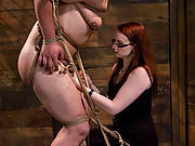 Tough as iron dominatrix tests male submissive
