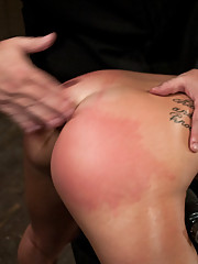 Co-ed bound in hard metal, oiled and ass up, made to cum hard!