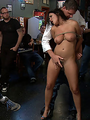Charley Chase has her natural 34DD tied and fondled out in public