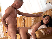 Horny senior fucking a young and willing babe