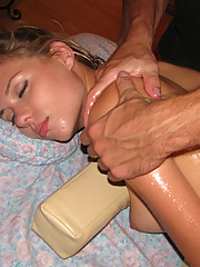 Sexy slut getting fucked during her massage session!
