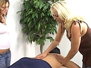 Two massage therapists suck off this client in SFNM action