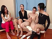 A trio of clothed babes fuck with a naked man here