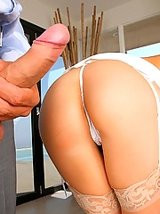 See this hot blonde get fucked in an open house