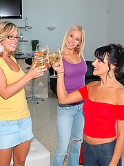 3 hot milf have some wine then munch on each others pussies