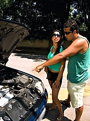 Brazilian hottie car breaks down dude comes by takes her home and she repays him with a great fuck big jucy ass and round tits watch her get anal