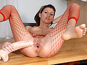 Teen Amanda riding a long dildo!