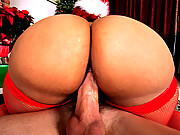 Sexy ebony girl with hot xmas outfit huge round ass and big jucy tits