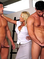 Two chick make two dudes their boy toys as they suck their cock and fuck them these chicks have huge round tits and cruvy bodies