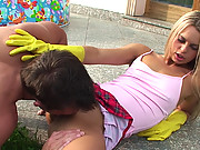 Sabrina gets her small body fucked in the house patio