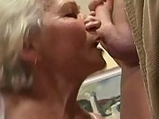 Old granny sucks cock and tit wank