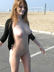 Gorgeous and natural red head flashing in public