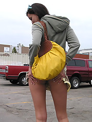 Super sexy teen getting butt naked in the public