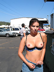 Busty flasher running wild in the streets of LA