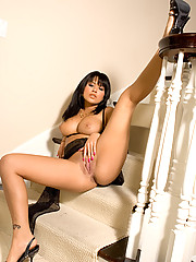 Hot Latina Eva Angelina solo pussy play in some brand new lingerie