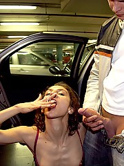 Hot chick and dude banging in public car park