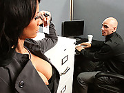 Horny slut gets pounded in the office
