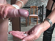 Cum milking handjob by dominatrix
