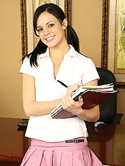 Stephanie is a naughty schoolgirl and plays with her dildo.