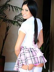 Cierra is one naughty schoolgirl and soon is left in only stockings