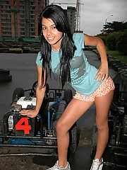 Gigi has fun on a go-kart and later digs her fingers in her tight pussy
