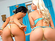 Check out big tits molly and her lingerie babe share a hot pussy fucking in this amazing sex party