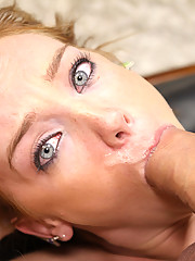 Curious girl tries to fit a huge cock down her throat