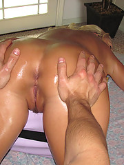 Horny girl getting a happy ending on the massage table