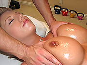 Dumb blonde gets a cock during her massage session
