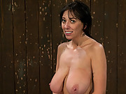Big titted MILF with 34FF boobs is bound, whipped and tickled!