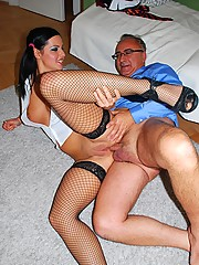 Nasty UK street slut fucks and sucks old guy