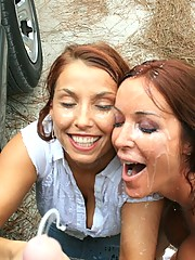 Rachel Steele and Stacie Starr gets cumblasted at cumblact city