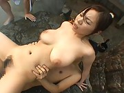 Cute Aoi fucking in the backyard hard by a big dick