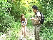 Nana gets her pussy fingered outside in the woods