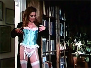 Retro stripper in sexy lingerie fucks a guy