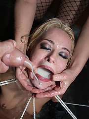 Blonde whore getting roped, fucked hard, and drowned in jizz