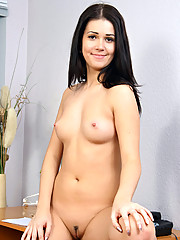 Long haired Nubile siren teasingly strips off her clothes and daringly shows us her craving pussy