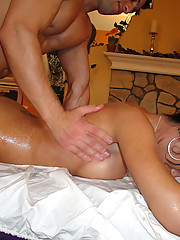 Stupid slut Capri gets fucked right on the massage table