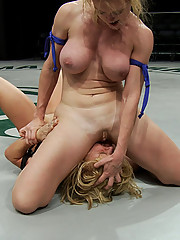 Two Massive Titted girls cat-fight, in a non scripted wresting match, Loser gets humiliated and fucked by the winner!