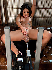 Brazil round ass beauty ass fucked with huge dong while riding the Sybian on high until she cums herself into oblivion.