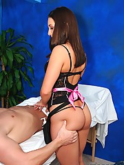 Cute 18 year old brunette gives a massage and a sexy surprise to her patient