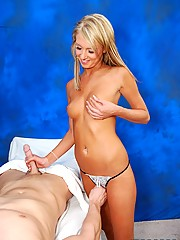 hot 18 year old blonde gives an erotic massage with a sensual surprise at the end!